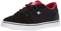 DC Youth Anvil Skate Shoe, Black/Red, 2 M M US Little Kid