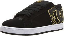 DC Men's Court Graffik SE Skate Shoe, Black/Gold, 12 D D US