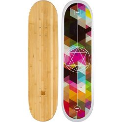 Bamboo Skateboards Geometricity Graphic Skateboard Deck with a 6 Ply Bamboo and Maple Hybrid Build