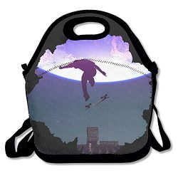 Skateboard Moon Rooftop Lunch Bag Tote Handbag Lunchbox For School Work Outdoor