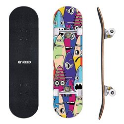 ENKEEO 32″ Skateboard Complete 9 Ply Maple Wood Double Kick Concave Skateboards, ABEC-9 Tr ...
