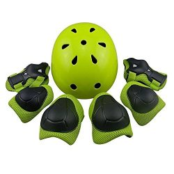 MAXZOLA Kids Protective Pads Knee Pads Elbow Pads Wrist Guards 3 In 1 Protective Gear Set (Green ...
