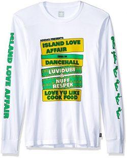 adidas Originals Men's Skateboarding Island Love Affair Long Sleeve Tee, White/Yellow/Green, M