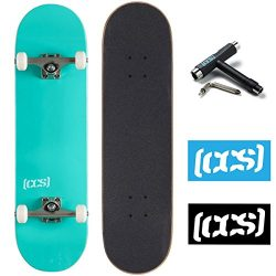 CCS Logo and Natural Wood Skateboard Completes – Fully Assembled (Mint Green, 7.75)