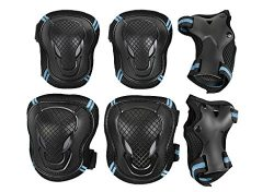 Teens Knee Elbow Wrist Braces Pads Set Reflective Adjustable Collision Avoidance Skate Roller Bl ...