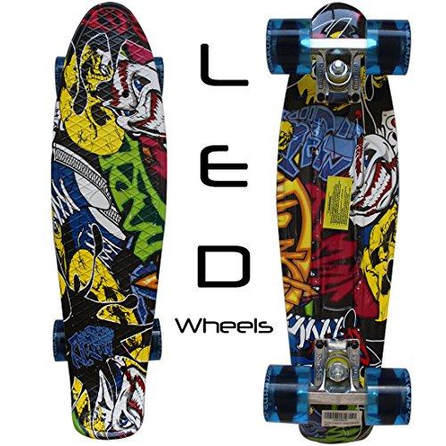 RIMABLE Complete 22″ Skateboard YellowScullFlashingWheels