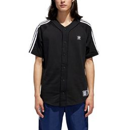 adidas Originals Men's Skateboarding Baseball Jersey, Black/White, M