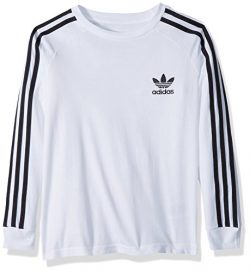 adidas Originals Big Boys' Originals California Long Sleeve Tee, White/Black, L