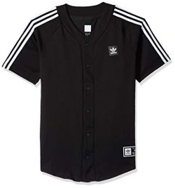adidas Originals Men's Skateboarding Baseball Jersey, Black/White, S