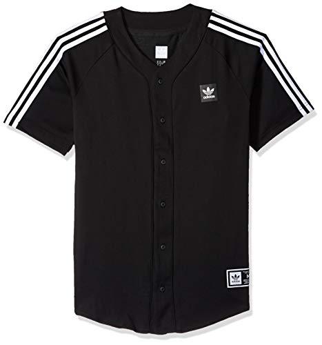 adidas Originals Men's Skateboarding Baseball Jersey, Black/White, S
