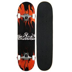 Krown Rookie Complete Skateboard,Red Flame