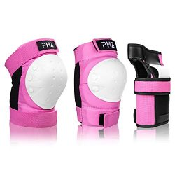 PHZ Kids 3 in 1 Protective Gear Set Knee Pads Elbow Pads Wrist Guards for Skateboard Cycling Ska ...