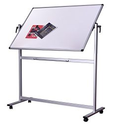 Double Sided Aluminum Magnetic Mobile Dry Erase Board 60 x 40 inch, Large Reversible Presentatio ...