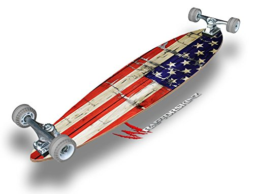 Painted Faded and Cracked USA American Flag – Decal Style Vinyl Wrap Skin fits Longboard S ...