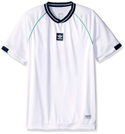 adidas Originals Men's Skateboarding Athleisure Jersey, White/Noble Indigo/Shock Green, XL