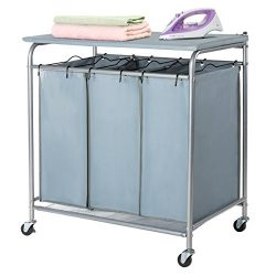 Marble Field 3-Bag Heavy-Duty Rolling Laundry Sorter Laundry Cart with Ironing Board Laundry Roo ...