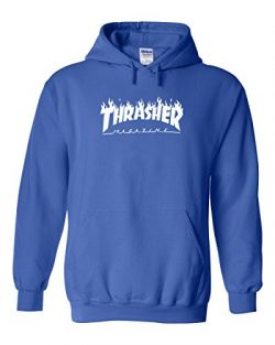 Karma t shirts Thrasher Magazine | Skateboarding | White Design | Mens Blue Hooded Sweatshirt Large