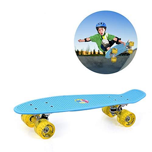 GASACIODS 22 Inch Mini Cruiser Penny Skateboard Complete Plastic Retro Board with Bendable Deck  ...