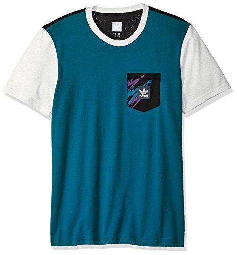 adidas Originals Men's Skateboarding Tennis Pocket Tee, Real Teal/Black/Pale Melange, M