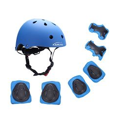 Kamugo Kids Youth Adjustable Sports Protective Gear Set Safety Pad Safeguard (Helmet Knee Elbow  ...