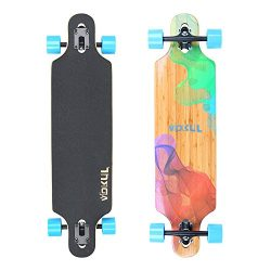 VOKUL Complete Longboard Skateboard Cruiser with 7-Ply Maple Wood and 1 Layer Bamboo Deck for Ki ...