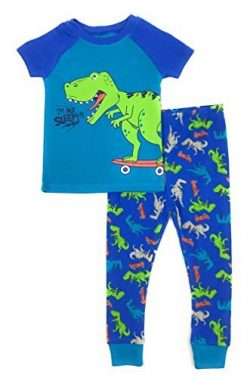 Baby and Toddler Boys Snug Fit Graphic Pajama Shirt and Pants Two-Piece Set (2T, Skateboarding Dino)