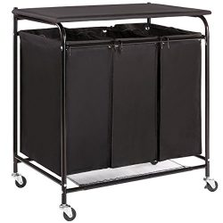 Marble Field 3-Bag Heavy-Duty Laundry Sorter Cart with Ironing Board Laundry Room Organizer with ...