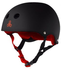 Triple Eight Helmet with Sweatsaver Liner, Black Rubber/Red, X-Large