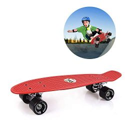 GASACIODS 22 Inch Mini Cruiser Penny Skateboard Complete Plastic Retro Board with Bendable Deck  ...
