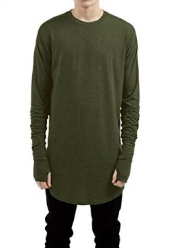 LILBETTER Mens Thumb Hole Cuffs Long Sleeve T-Shirt Basic Tee (M, Army Green)