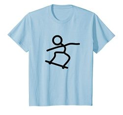 Kids Skateboard Skateboarding Stick Figure T-Shirt 8 Baby Blue