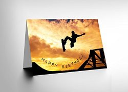 Wee Blue Coo New Happy Birthday Skateboard RAMP Sunset Photo Blank Greetings Card CL1093