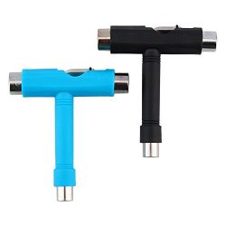 Yosoo 2 Pcs Multi Function Skateboard T-Tool Screwdriver Socket Longboard Metal All in One Skate ...