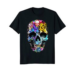 Mens HUMAN GRAFFITI ART SKULL – retro vintage skater T-shirt 2XL Black