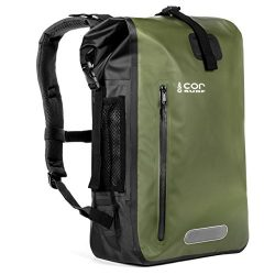 COR Board Racks Cor Waterproof Dry Bag Backpack with Padded Laptop Sleeve 40 Liter Green