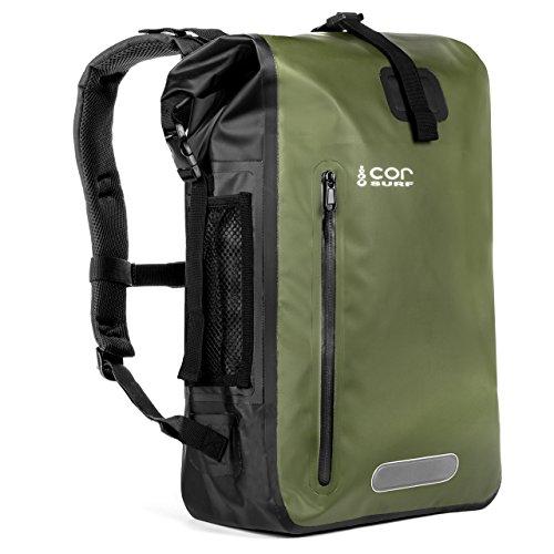 COR Board Racks Cor Waterproof Dry Bag Backpack with Padded Laptop Sleeve 40 Liter Green