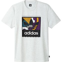 adidas Originals Men's Skateboarding Logo Tee, Pale Melange/Tribe Purple/Real Teal, L
