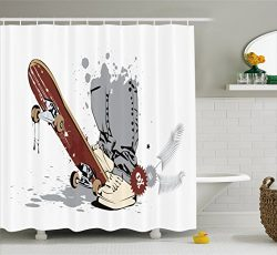 Ambesonne Teen Room Decor Shower Curtain, Skateboard with Boy Feet in Sneakers and Jeans Illustr ...