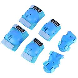 Bosoner Kids/Youth Rollerblade Roller Skates Cycling Knee Pads Elbow Pads (Blue, Medium(6-15 years))