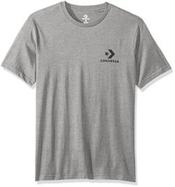 Converse Men's Star Chevron Small Logo Short Sleeve T-Shirt, Charcoal/Red, L
