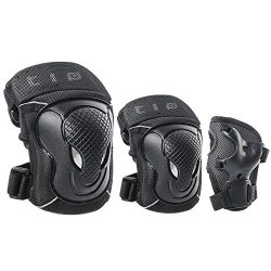 GES Adult/Child Knee Pads Elbow Pads Wrist Guards Protective Gear Set Sports Safety Pad for Roll ...
