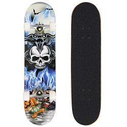 Complete Skateboard Deck 31″x 8″ PRO Print 9-layer Canadian Maple Wood Board with PU ...
