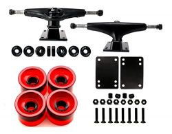 Skateboard Truck and Wheel, 5.0 Skateboard Trucks (Black) w/Skateboard Crusier Wheel 60mm, Skate ...