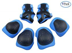 Kid Protective Gear Set, Child Elbow Pads Knee Pads Wrist Guards 6 in 1 Protective Gear Set For  ...