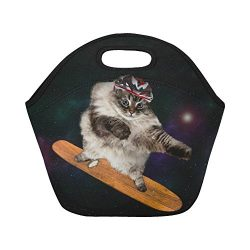 InterestPrint Insulated Lunch Tote Bag Funny Cat Starry Sky Reusable Neoprene Cooler, Animals Sk ...