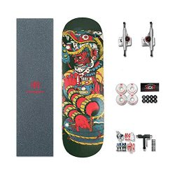 HN Pro Standard Skateboard 31.5 X 8 Inch Complete Skateboard – 7 Layer Canadian Maple Wood ...