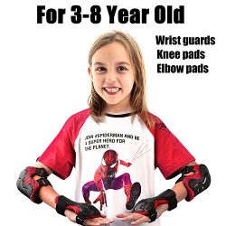 Kids Adjustable Comfortable Knee Pads and Elbow Pads with Wrist Guards Youth Protective Gear Set ...