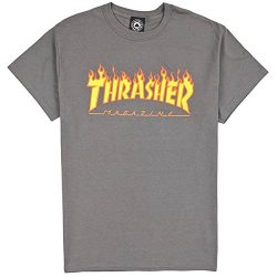 "Thrasher ""Flame Logo"" T-Shirt (Charcoal) (Large)"