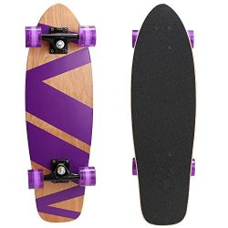 ANCHEER 27″ Skateboard Cruiser Complete Canadian Maple Wood Skate Board for Adult & Ki ...
