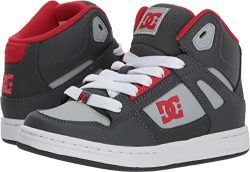 DC Boys' Pure High-Top Skate Shoe, Grey/Grey/Red, 1 M M US Little Kid